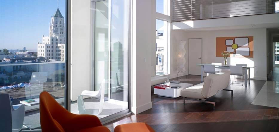 Interior of a luxury urban apartment condominium