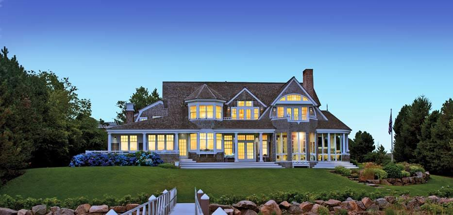 Exterior of a luxury waterfront home