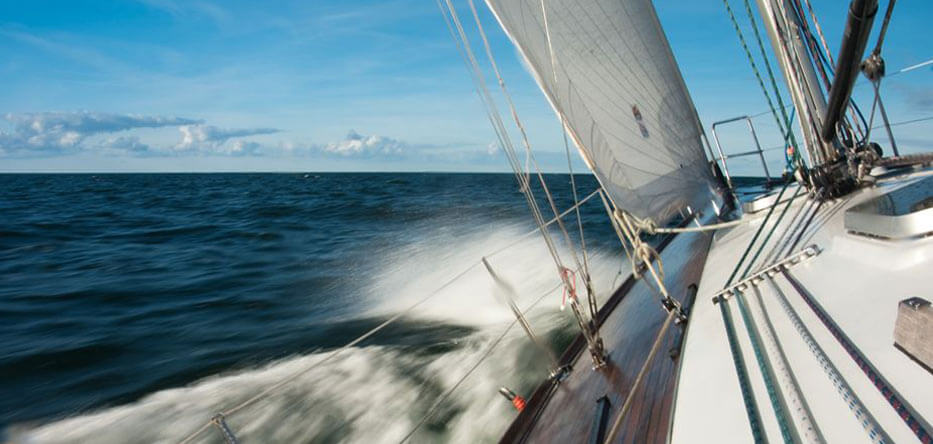 Photo of a luxury ocean going yacht underway on a reach