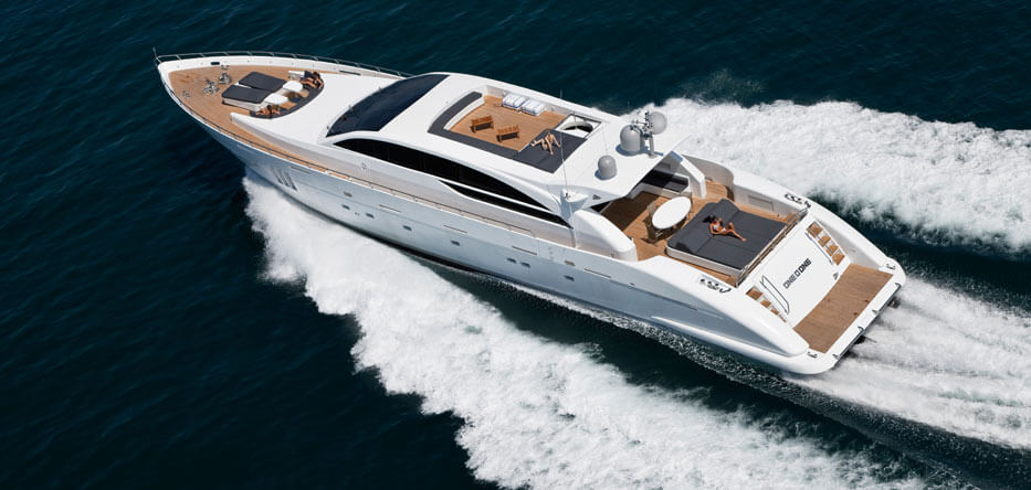 Photo of a luxury yacht underway
